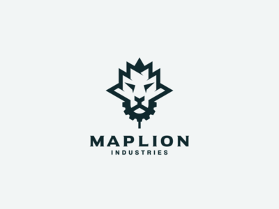 maple and lion head logo combination industry vectorart logo design lion logo maple lion illustrator ui icon app flat illustration branding animation vector design logo