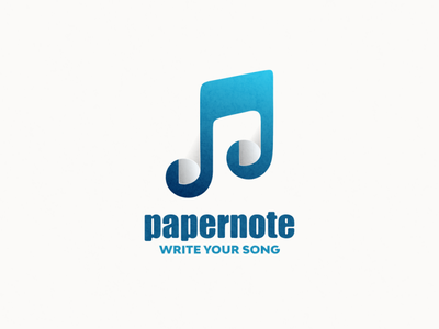 papernote logo combinataion paper music ui icon app flat illustration branding animation vector design logo