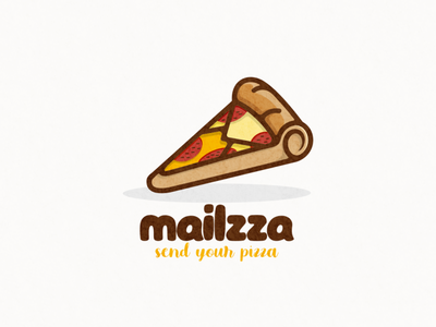 mail and pizza logo combination massage mail food pizza ui icon app flat illustration branding animation vector design logo