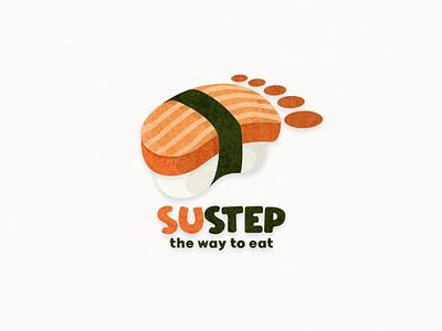 sushi and step logo combination japanese step food sushi ui icon app flat illustration branding animation vector design logo