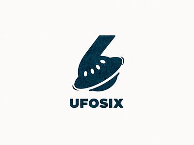 ufo nad number six logo combination number space ufo ui icon app flat illustration branding animation vector design logo