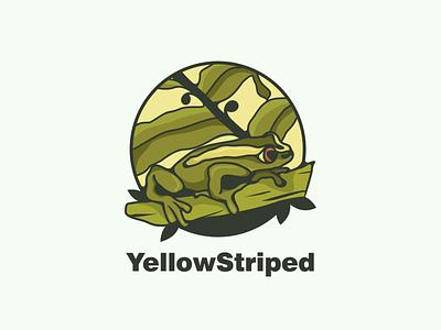 yellow striped frog animals frog typography ux ui flat illustration branding animation vector design logo