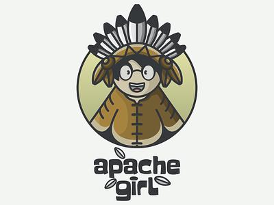 apache girl american apache girl typography ux ui flat illustration branding animation vector design logo