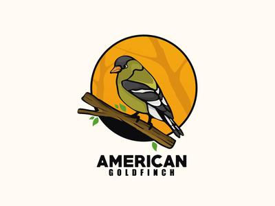 american goldfinch bird typography ux ui flat illustration branding animation vector design logo