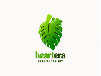 heartera health nature leaf monstera typography ux ui flat illustration branding animation vector design logo