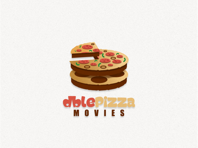 Pizza and filmroll fruits logo combination film pizza food ui typography ux flat illustration branding animation vector design logo