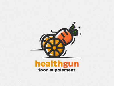 Orange and carrot logo combination  Healthgun typography ux ui flat illustration branding animation vector design logo