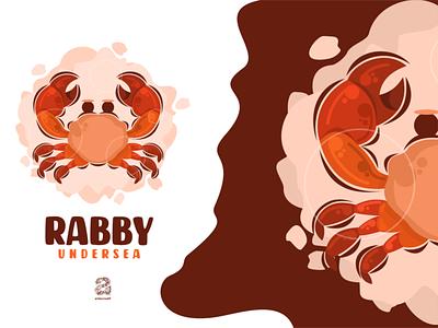 Crab cartoon logo style seafood crap cartoon typography ux ui flat illustration branding animation vector design logo