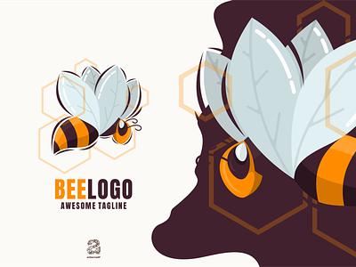 Beelogo honey bee typography ux ui flat illustration branding animation vector design logo