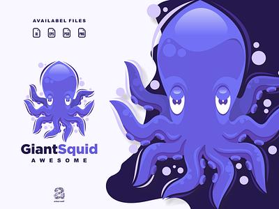Giantsquid squid typography ux ui flat illustration branding animation vector design logo