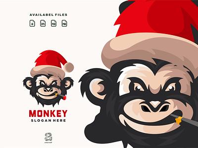 Monkey christmas monkey typography ux ui flat illustration branding animation vector design logo