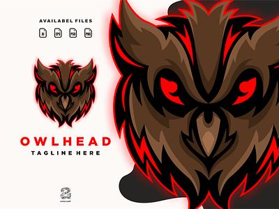 Owl head game esport owl ui typography ux flat illustration branding animation vector design logo