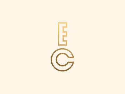 EC Key letters branding key monogram ec