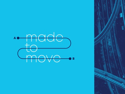 From A to B easy blue lockup highway travel movement design traffic typography