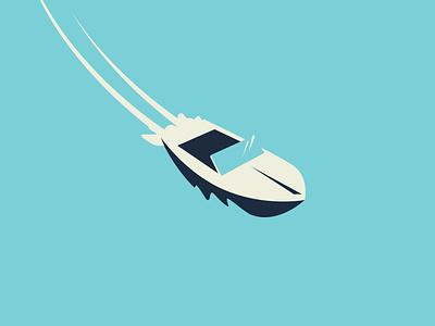 Boat Illustration for a WIP water boat blue design illustration