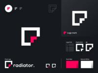 radiator - Logo Design simple symbol minimal arrow grid lettermark brand design branding brand identity icon flat concept vector logo concept design dribbble