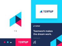 Teamup technology clever negative space minimal modern typogaphy lettermark up arrow team brand design branding brand identity icon flat concept vector logo concept design dribbble