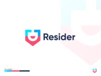 Resider smile minimal modern map websie find resident house home pin brand design branding brand identity icon flat concept vector logo concept design dribbble