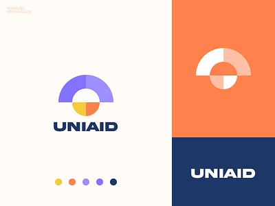 Uniaid dribbble mark clever visual identity graphic design app icon letter arabi ishaque logo design logotype illustration vector aid unity minimal geometric modern brand design icon branding logo