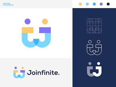 Joinfinite greet people creative concept branding social connect graphic design minimal modern letter mark lettering logo design icon design design icon concept design vector logo dribbble