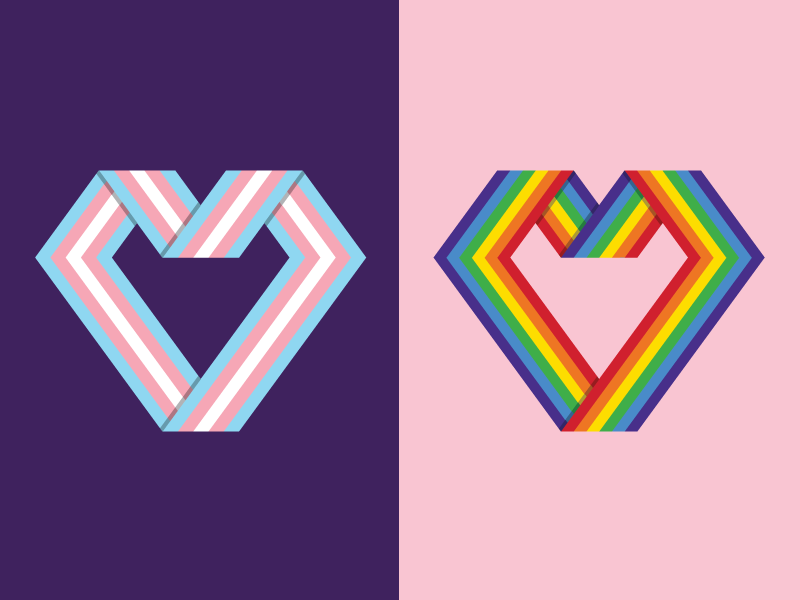 Pride Flag Hearts buttons illustration hearts trans lgbt pride