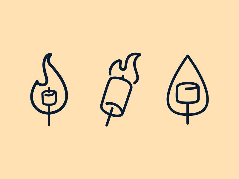 Graham Cracker Stamps design fire camping smores concepts line art stamp food marshmallows illustration