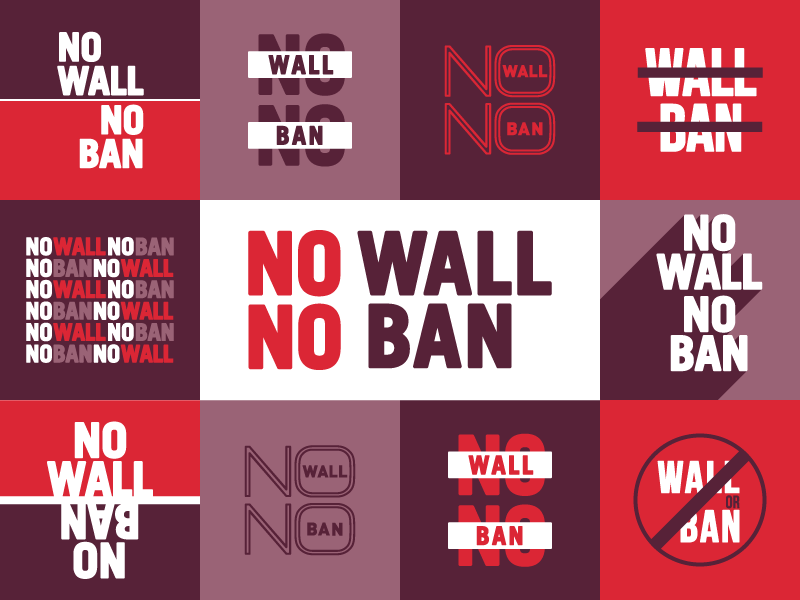 NO WALL NO BAN typography travel red graphic design buttons no ban no wall aclu immigrant rights immigration