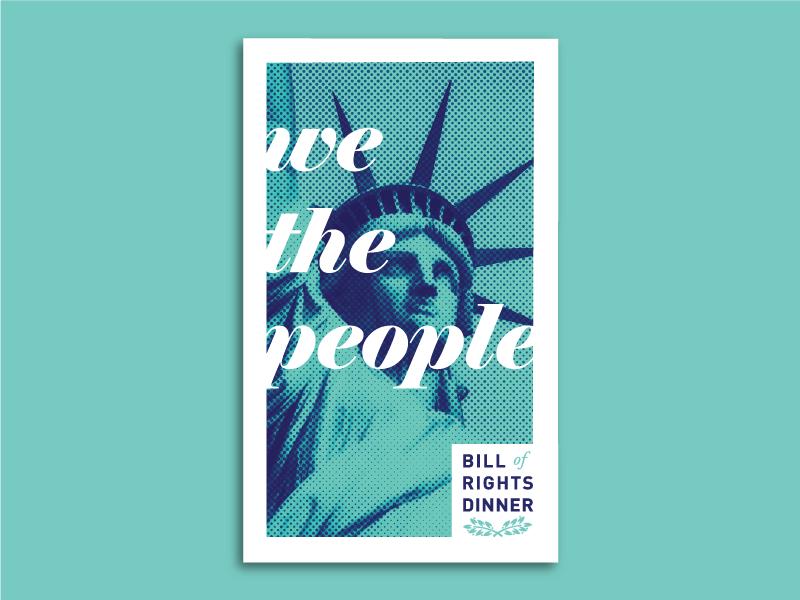 Bill of Rights Dinner 2.0 bill of rights statue of liberty design duotone invitation postcard liberty aclu