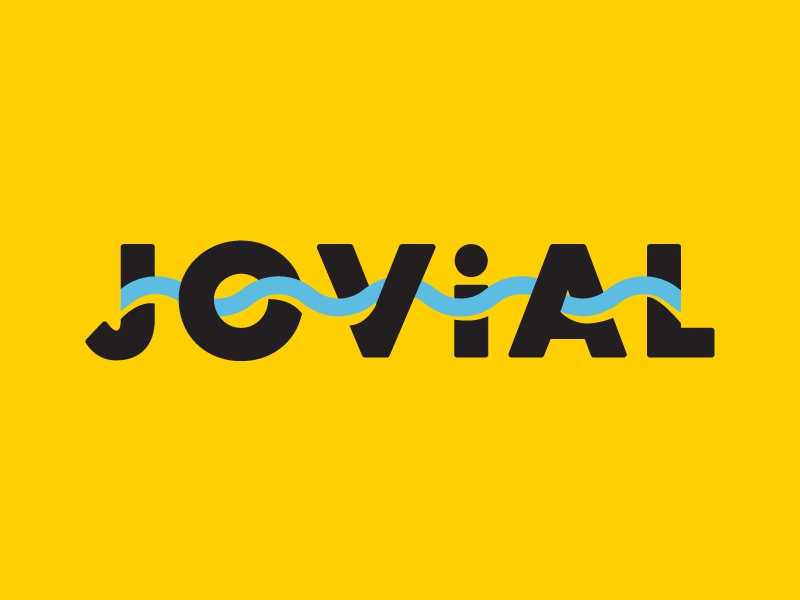 Jovial type graphic design illustration words summer jovial wavy letters design typography