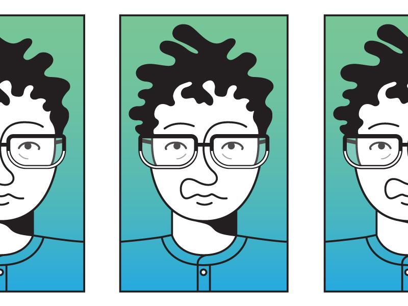 Self Portrait Exploration illustration design designer line art lines person face gradient portrait self-portrait