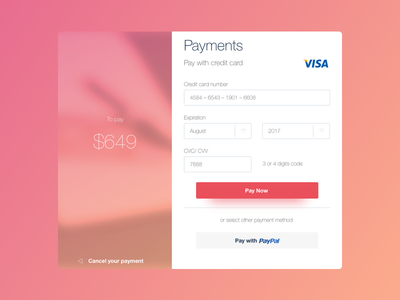 Day 002 - Credit Card visa ux ui shopping register modal flat dailyui credit card