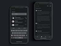 Nighttime email ux clean design dark ui freelance interface mobile app ios search mail night monochrome black client email dark ui