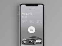 L U N A R App — Free PSD psd download freebie free simple miles temperature interface clean concept engine ios modern cars tesla electric vehicle vehicle car ui