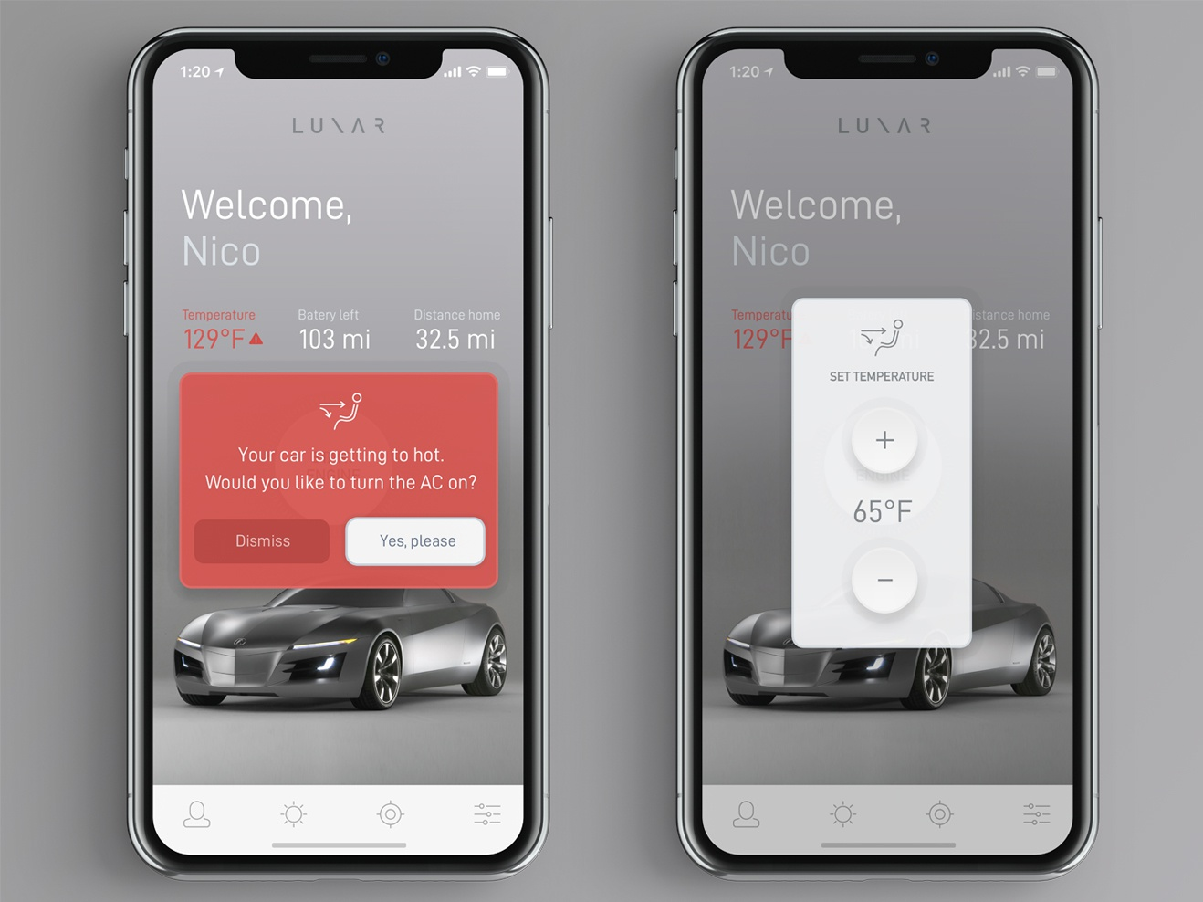 L U N A R App — Free PSD psd file download freebie free clean design alert warning button interface electric vehicle vehicle thermometer temperature control controller modern car ui app