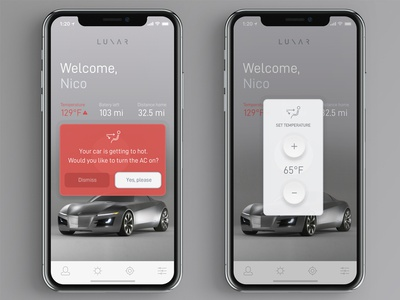 L U N A R psd file download freebie free clean design alert warning button interface electric vehicle vehicle thermometer temperature control controller modern car ui app