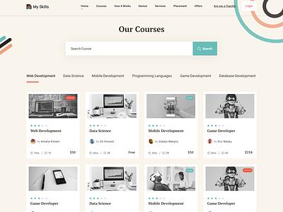 Course Details Screen wesbite super design card design coding develop skill learn course course content landingpage education website