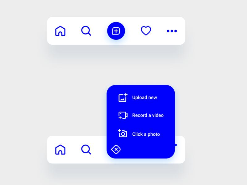 Mobile app navigation bar exploration #1 app app design figma navigation menu ux ui blue and white blue interaction tabbar tabs tab plus dropdown nav mobile