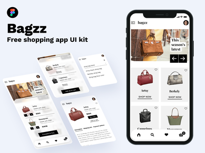 Bagzz - Shopping app [Free UI kit] modern clean minimal shopping cart uiux ux mobile mobile app template freebies uikit figmadesign figma ios ios app app design ui app shopping app shopping