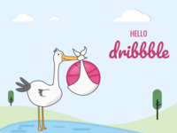 Hello Dribbble! illustration debut nature basketball child bird crane