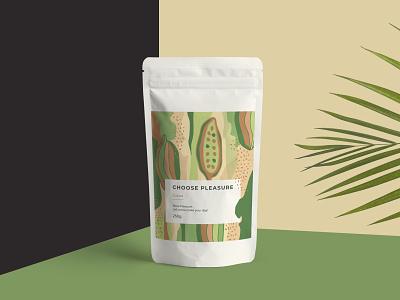 Cocoa Label grapgic design design creative art cocoa modern green illustraion packaging label