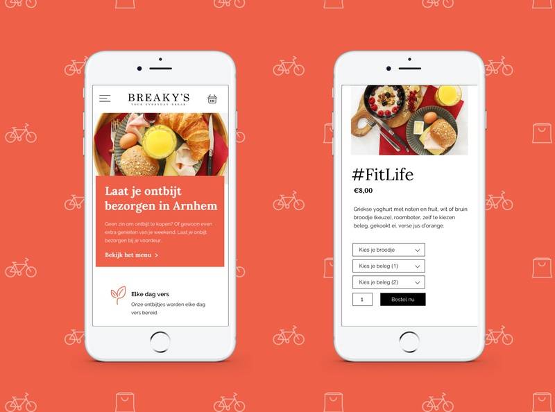 Mobile Design - Delivery webshop food uiux breakfast delivery service iphone white orange icons icon vector illustration mockup vector order ui ux website webshop branding delivery