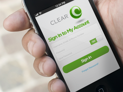 CLEAR app sign-in screen