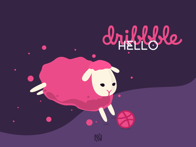 Hello Dribbble debut hello invite game play first shot vector draw love