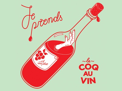 Je prends le coq au vin album cover graphic design type lettering music bottle illustrator vector artwork design graphic illustration