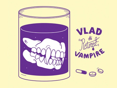 Vlad the retired vampire album cover graphic design type lettering glass illustrator vector artwork teeth graphic illustration