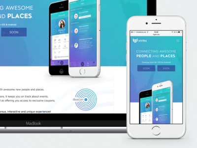 HYPH Website social guide location beacon ibeacon ios app ux ui mobile website landing