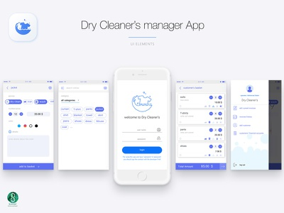 dry cleaner's manager app ui wash cloth laundry dry cleaners