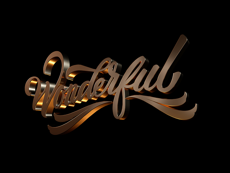 WONDERFUL 3d graphicdesign typography type handlettering lettering