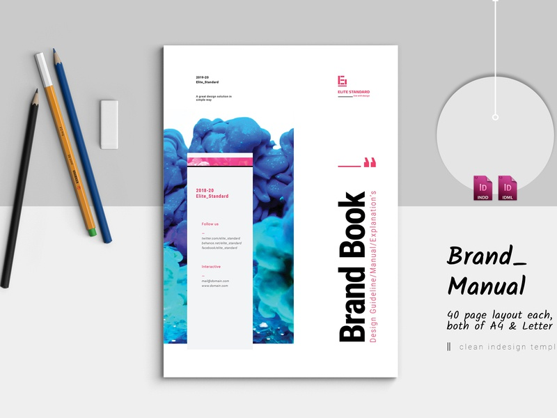 Elite Brand Manual business booklet design layout template clean classic elite-standard brand indesign corporate branding brochure