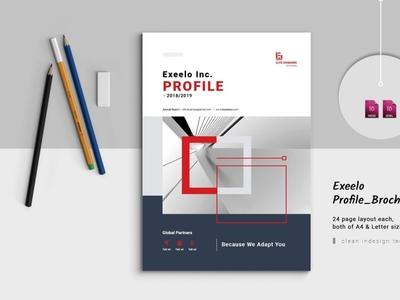 Exxelo Business profile annual report brochure indesign brand branding bifold brochure annual report corporate business booklet brochure